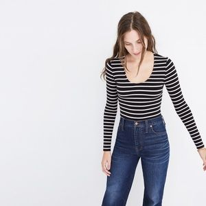 Madewell black white stripe long sleeve bodysuit